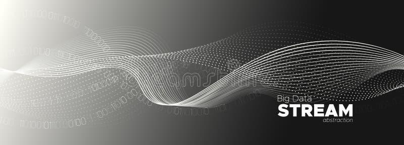Streaming Visualization. Gray Digital Particles. vector illustration