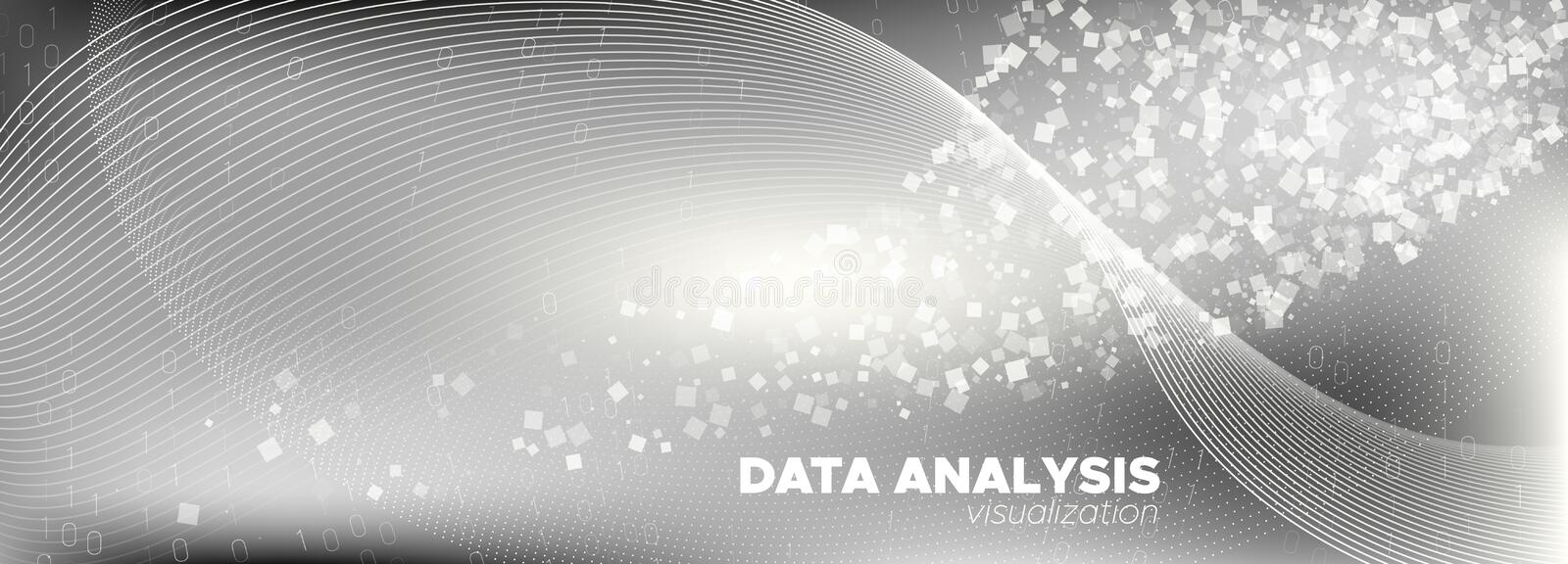Streaming Visualization. White Digital Particles. vector illustration