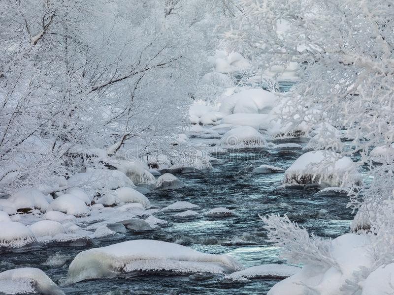 A streaming winter creek, snow and ice, river surrounded with snow covered trees stock photography
