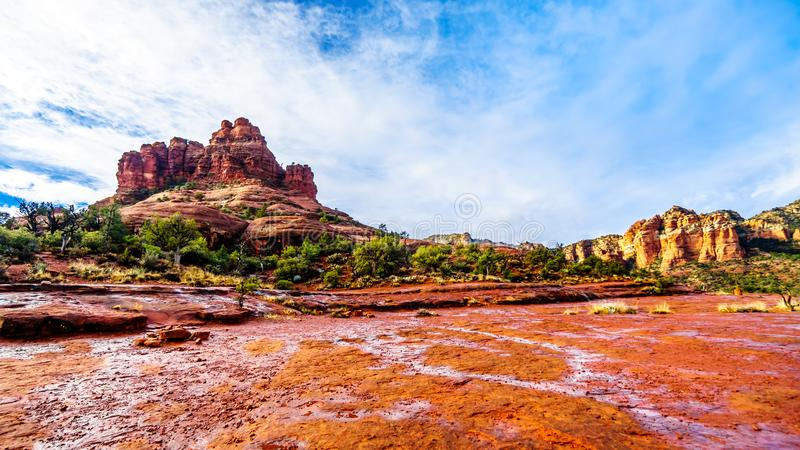 Streams and Puddles on the Red Rocks of Bell Rock after a heavy rainfall near the town of Sedona. In northern Arizona in Coconino National Forest, USA royalty free stock images
