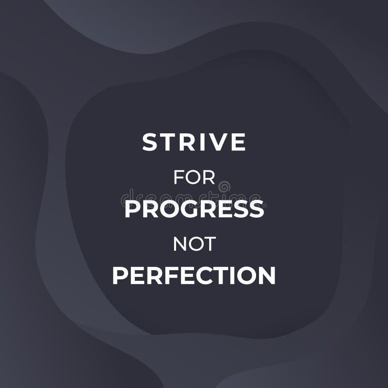 Streben nach Fortschritt, nicht Perfektion, Vektorplakat stock abbildung