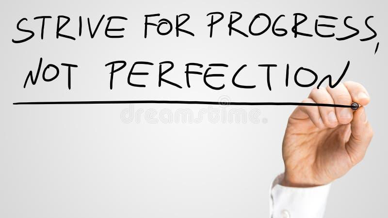 Streben Sie Fortschritts-nicht Perfektion an stockbilder