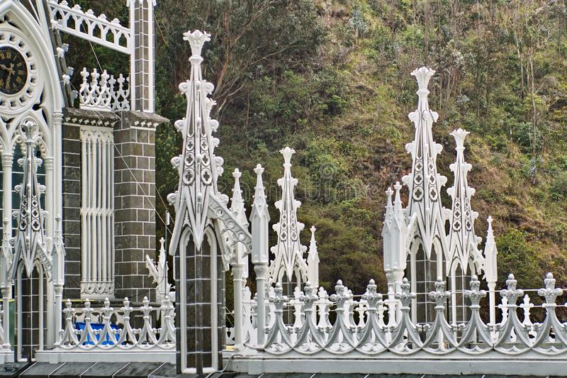 Strebewerk auf Kathedrale Las Lajas stockbild
