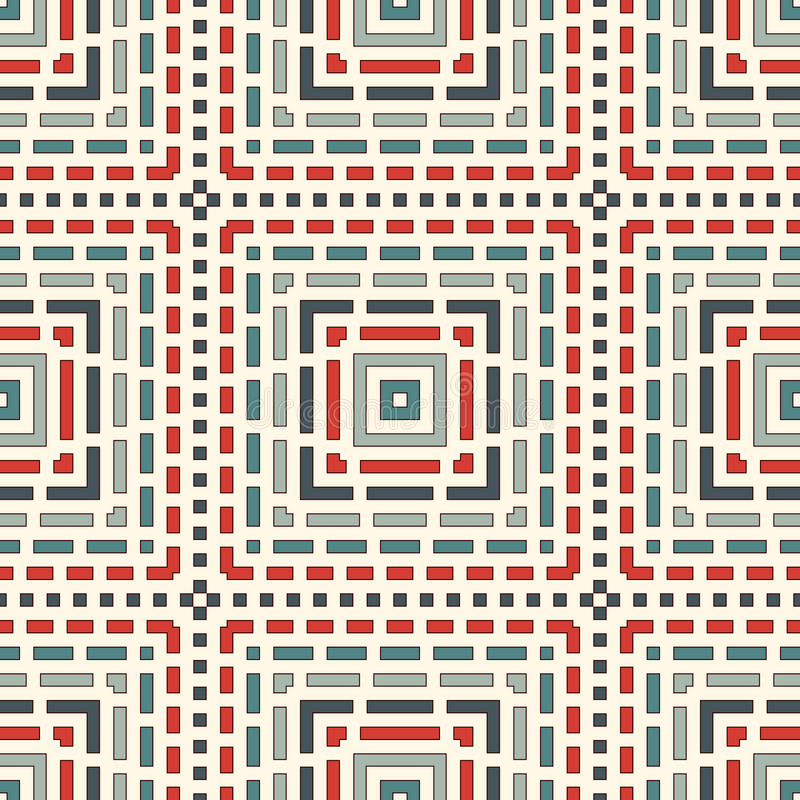 Streckade linjer abstrakt bakgrund Sömlös modell med geometriskt motiv Enkel symmetrisk prydnad stock illustrationer