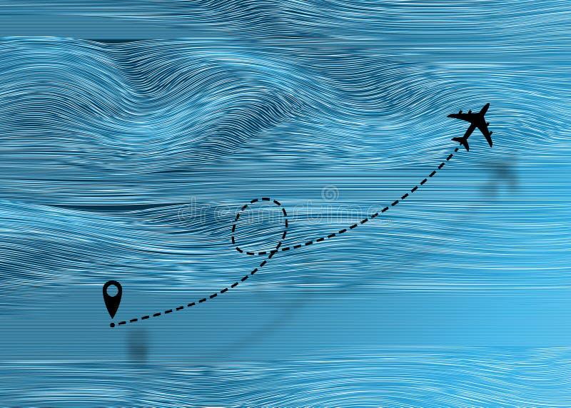 Streckenführung der Icon-Fluglinie Flugstreckenlinien Fremdenverkehr und Reisen Flugreise Tracks Traveller dott l lizenzfreie abbildung