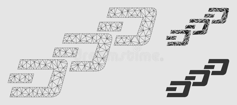 Streckkedjevektor Mesh Wire Frame Model och mosaisk symbol för triangel royaltyfri illustrationer