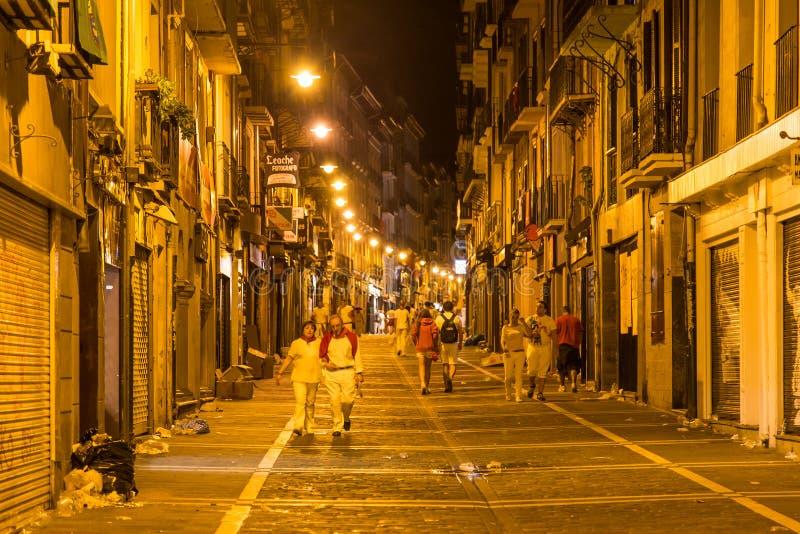 Stree观点的圣费尔明在西班牙 图库摄影