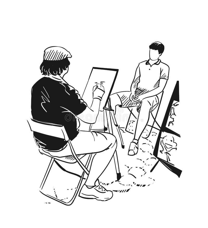Stree-Künstlervektorillustrations-Porträtclipart stock abbildung