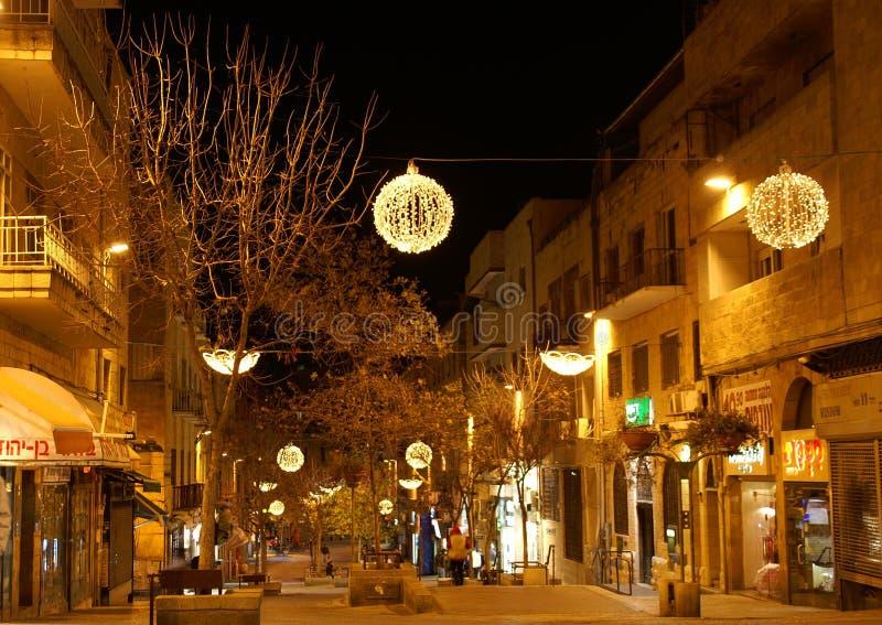 Stree van Jeruzalem Ben Iehuda bij nacht stock foto
