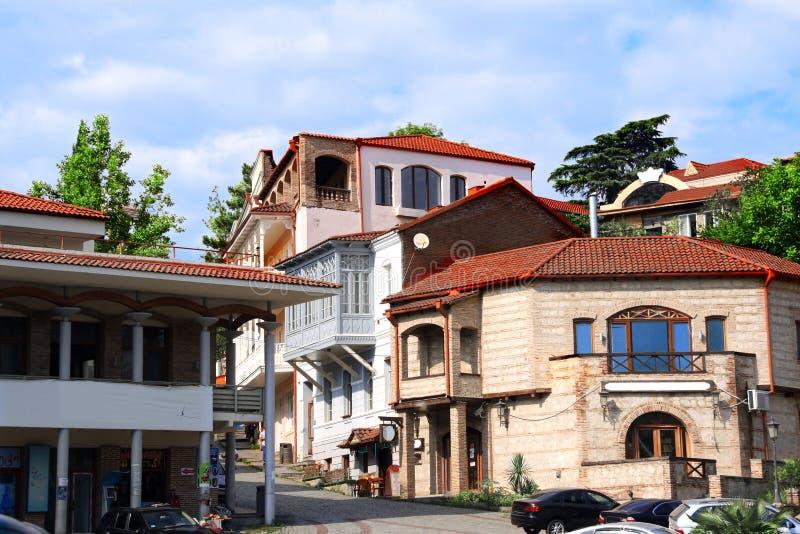 Streen mit alten Häusern, Sighnaghi, Kakheti-Region, Georgia lizenzfreie stockfotos