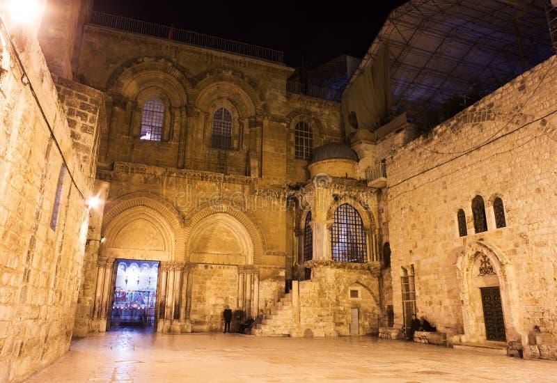 Streeo av den gamla staden Jerusalem på natten royaltyfri fotografi