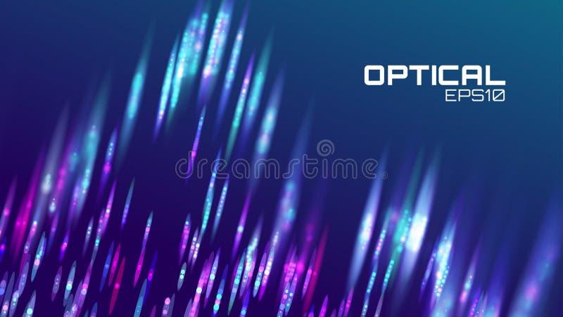 Streep abstracte achtergrond De motie van het lens bokeh neon Digitale golf vector illustratie