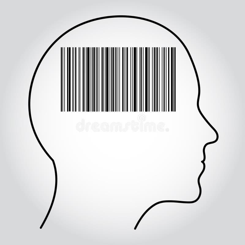Streepjescode binnen de contour van het menselijke hoofd wordt getoond dat Kan het idee van biometrische authentificatie, overhei vector illustratie