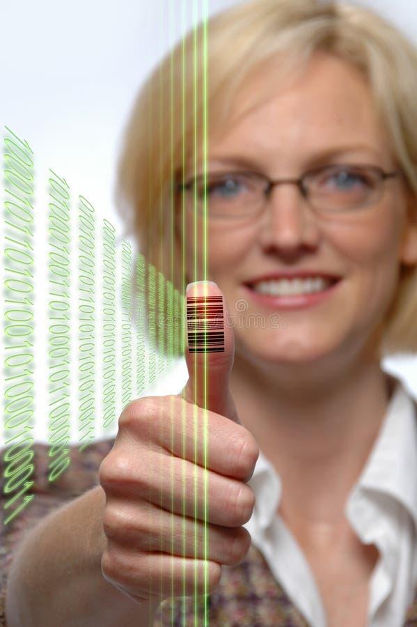 Streepjescode die op Duim wordt gestempeld royalty-vrije stock foto