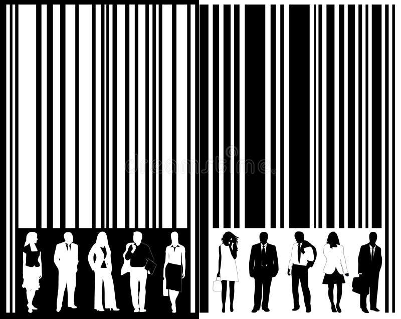 Streepjescode en mensen royalty-vrije illustratie