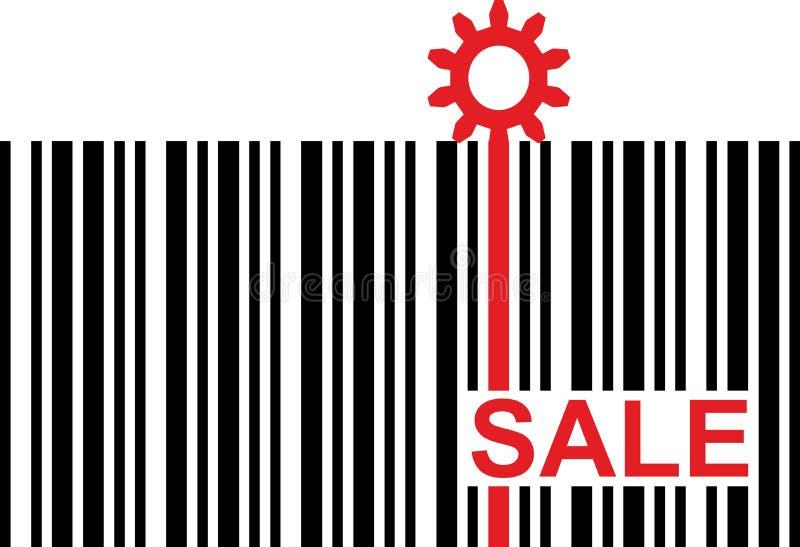 Streepjescode met rood verkoopteksten en toestelpictogram royalty-vrije illustratie