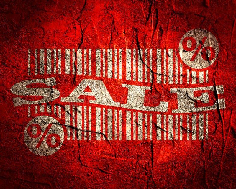 Streepjescode met verkooptekst en percententeken royalty-vrije illustratie