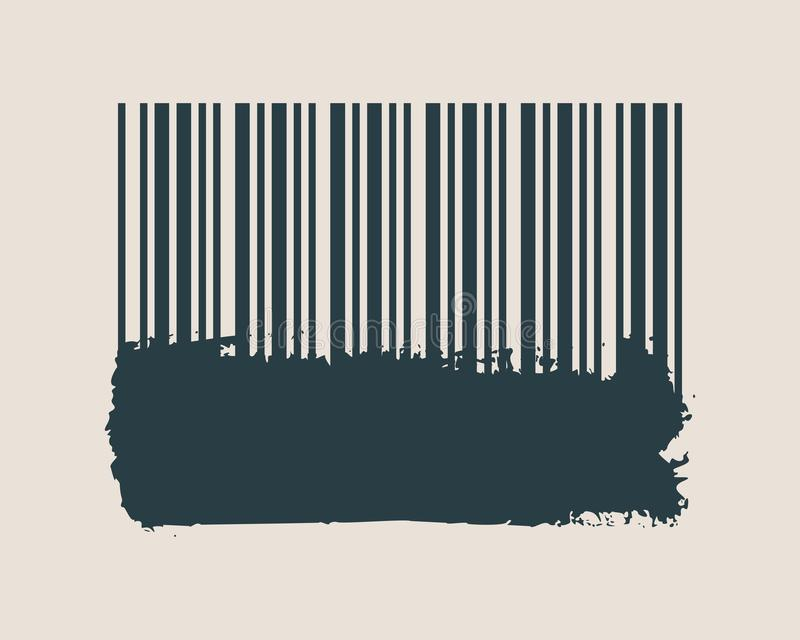 Streepjescode op grungepenseelstreek stock illustratie