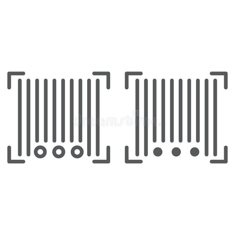Streepjescodelijn en glyph pictogram, scanner en identificatie, codeteken, vectorafbeeldingen, een lineair patroon op een wit vector illustratie