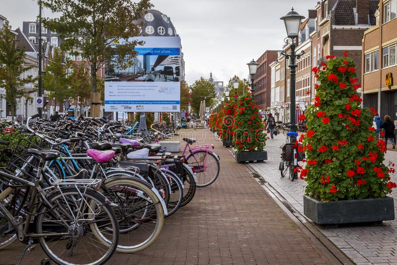Strees of Den Haag, The Hague in The Netherlands. Renovated Holland spoor area in The Hague. New wide footpaths and wider bicycle lanes has been layed stock images
