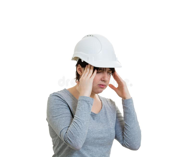 Streesed woman engineer stock photos