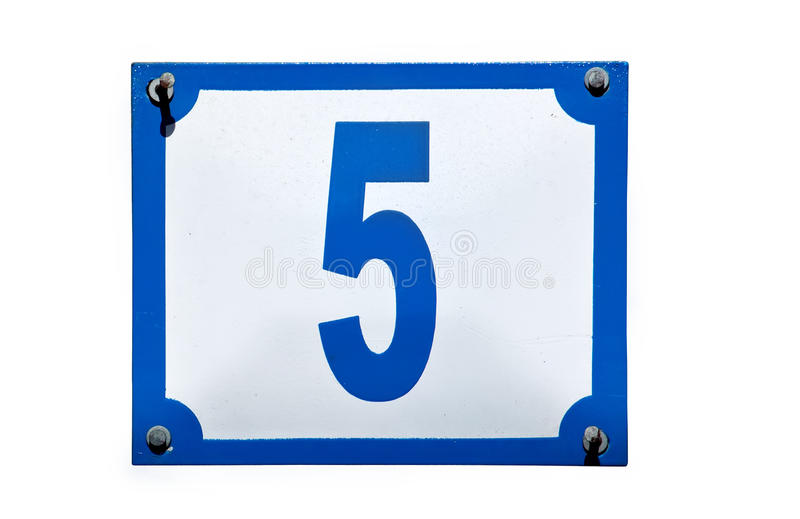 Street Address Number Five Plate Isolated Royalty Free Stock Images