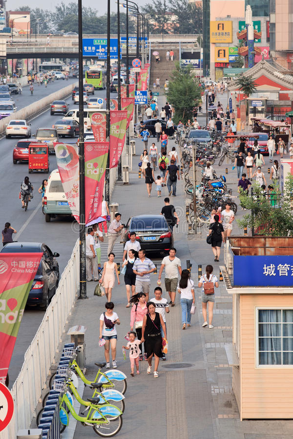 Street with advert banners, Beijing, China stock photos