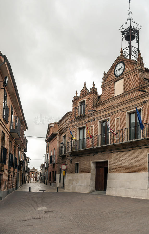 Download Street Of Alaejos With Town Hall Stock Photo - Image: 30597814