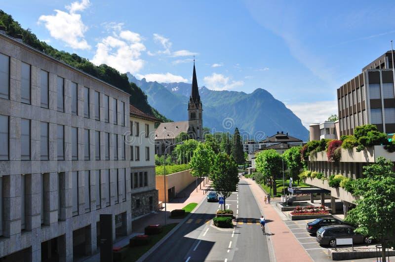 Street of alpine town, Vaduz, Lichtenstein stock photos