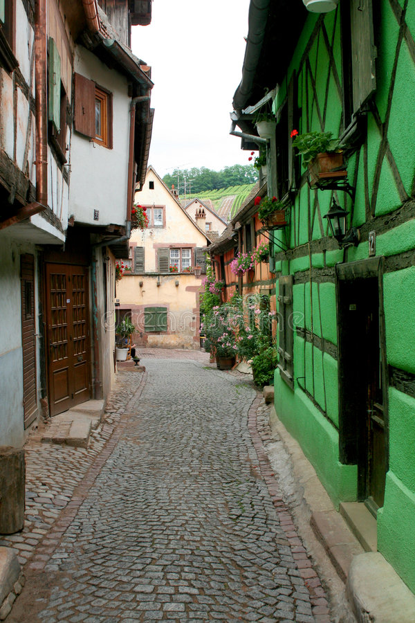 Street in alsace stock photography