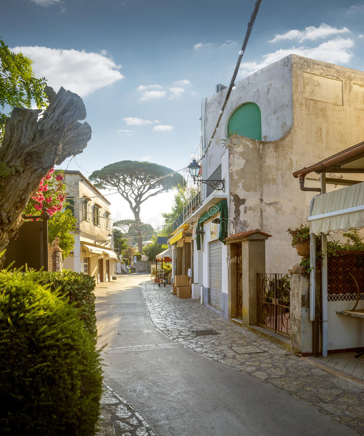 Street of Anacapri town on Capri island in Italy stock photography