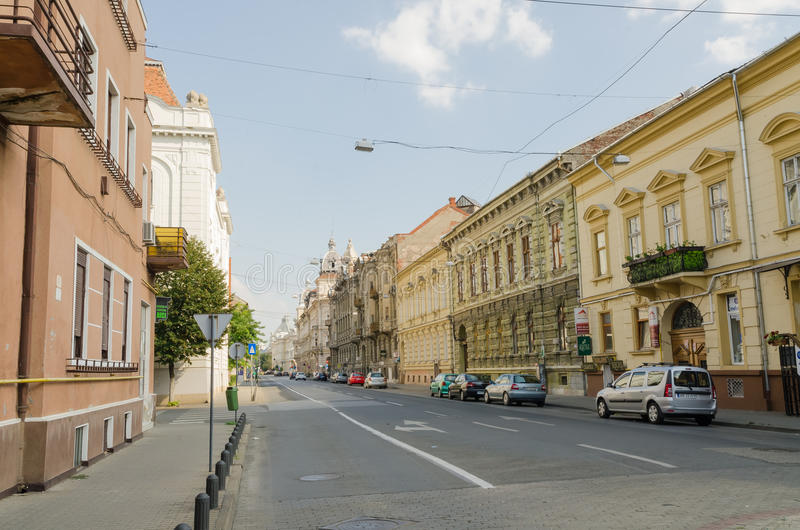 Street in Arad. Arad is the county capital city of the same name, Banat, Romania royalty free stock image