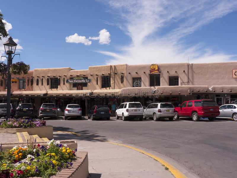 Street Arcade in Taos New Mexico USA. Adobe Architecture of the Southwest of the USA in Taos New Mexico stock photos