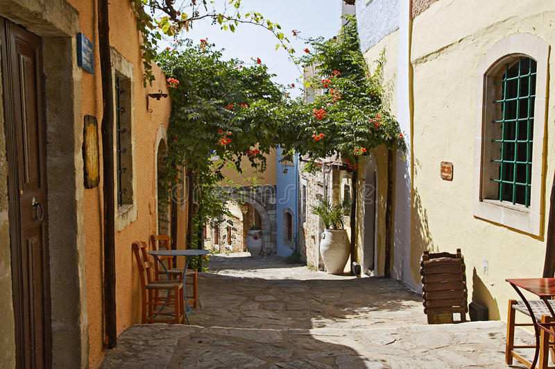 Street in Arolithos stock photos