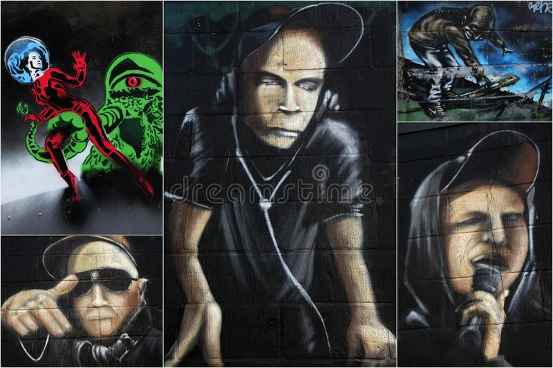 Street art. Of skilled artists, representing urban, science fiction and DJ-culture. Picture taken in a designated  area (near the Stella Artois brewery, Leuven royalty free stock image