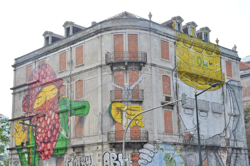 Download Street Art By Blu And Os Gemeos In Lisbon Editorial Photography - Image: 27635832