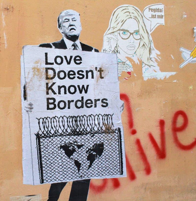 Street art with Donald Trump royalty free stock photos