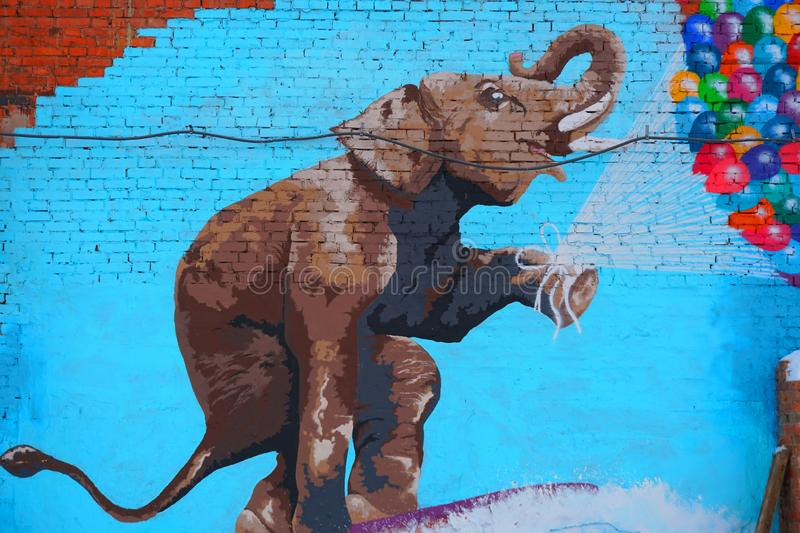 Street art of the elephant. royalty free stock photos