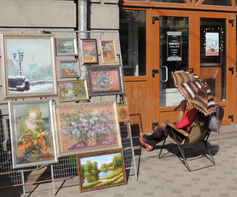 Street art exhibition and sale and its vendor stock photography
