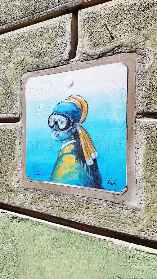 Street art in Florence, Italy royalty free stock image