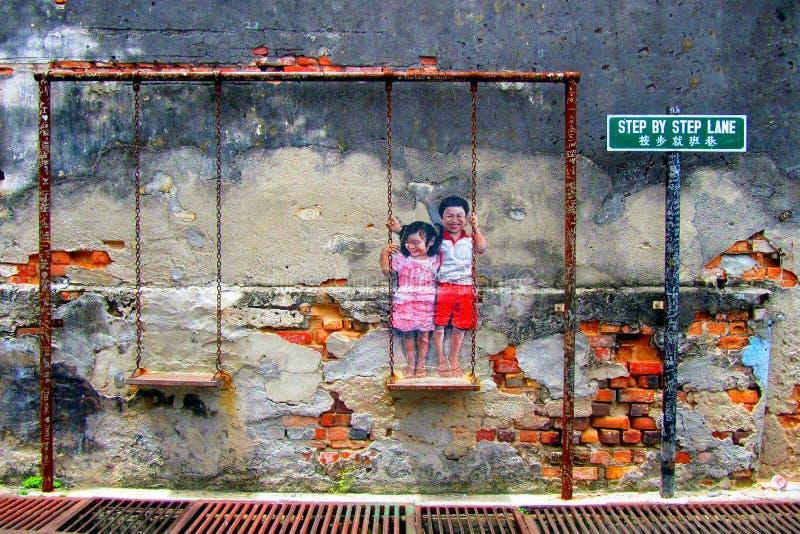 Street Art in Georgetown. Penang, Malaysia royalty free stock image