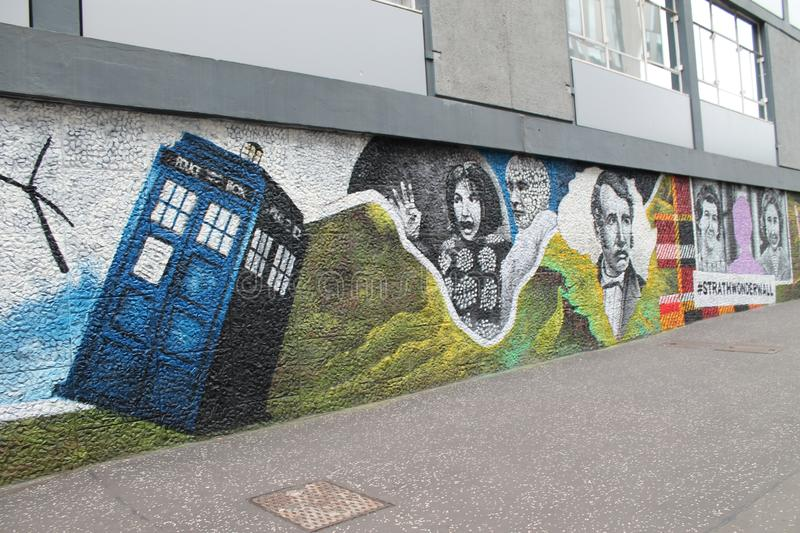 Streets in Glasgow by DOctor Whor Strret Art royalty free stock photo