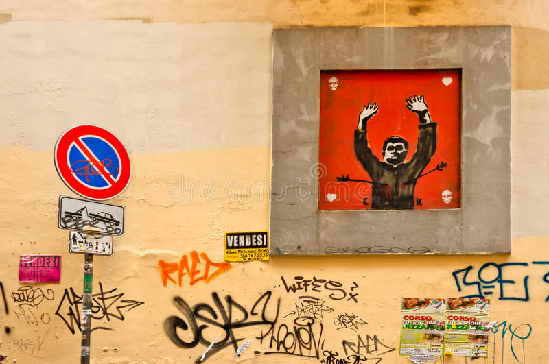 Street art and graffiti on wall in Naples, Italy royalty free stock photos