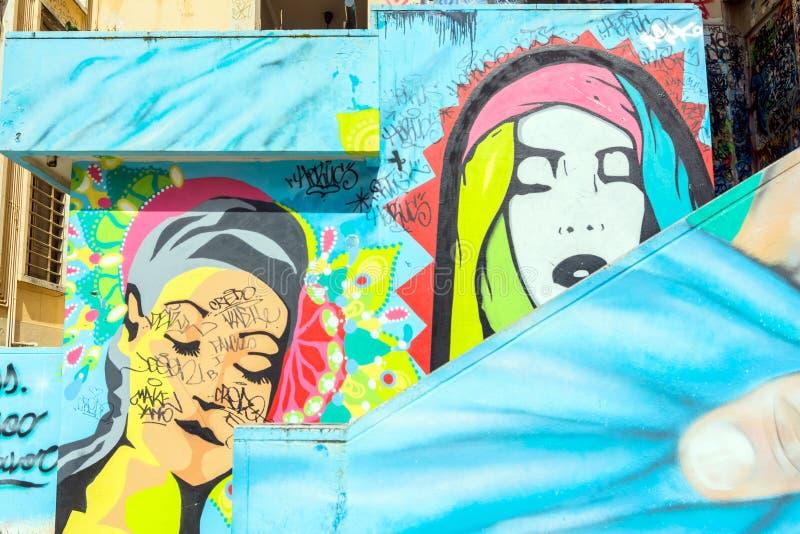 Street art and graffiti on wall in Potenza, Italy. POTENZA, ITALY - MARCH 13, 2015: urban wall with street art and graffiti in Potenza, Italy. Potenza is the royalty free stock image