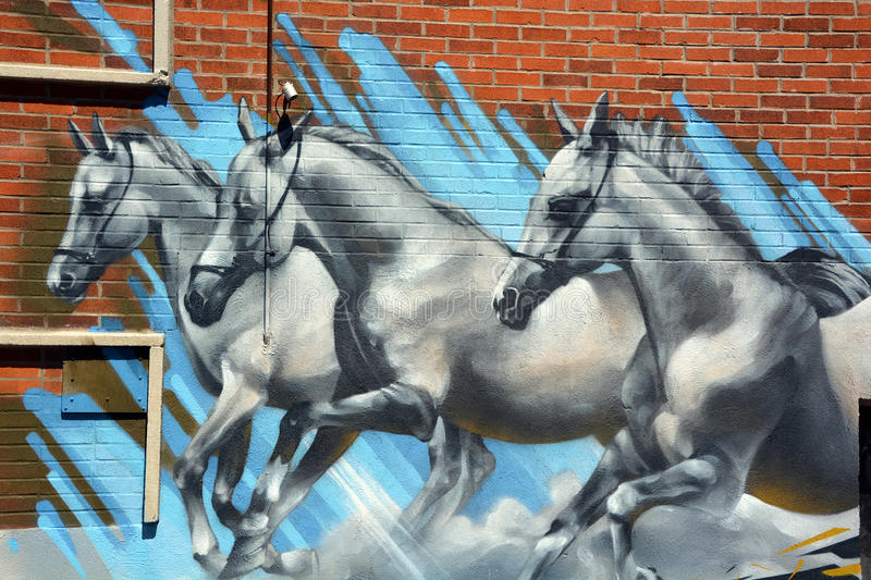 Street art horses. MONTREAL CANADA MAY 17 2015: Street art horses in Montreal is the perfect place to walk in the back alley and abandoned areas, looking for royalty free stock photography