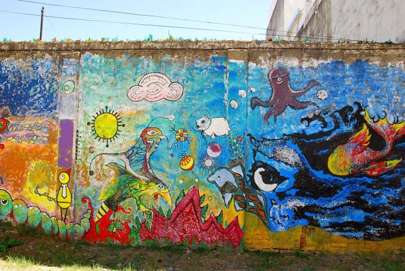 Street art in La Boca neighborhoods stock images