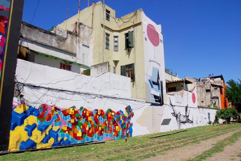 Street art in La Boca neighborhoods stock photos