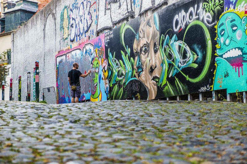 Street art in Lisbon Portugal royalty free stock images