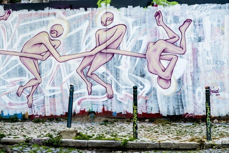 Street art in Lisbon Portugal stock photo