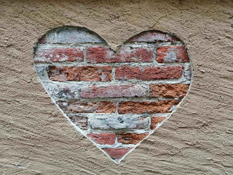 Street art, Love represented on a wall with a heart royalty free stock image